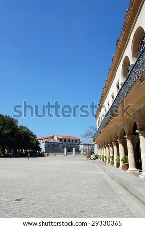 Old Havana contains the core of the original city of Havana. The positions of the original Havana city walls are the modern boundaries of Old Havana. Old Havana is a UNESCO World Heritage Site. - stock photo