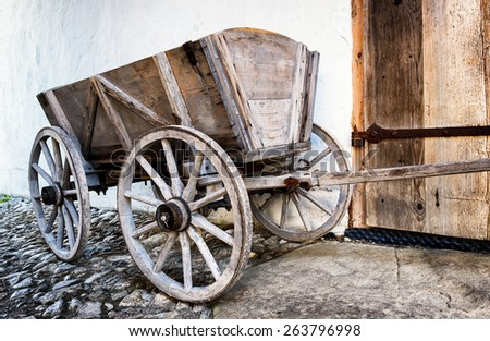 old hay cart at a farm