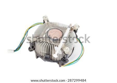 old heat-sink of cpu on white background - stock photo