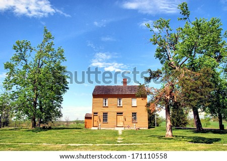 Old Historic building at Shaker Village in Kentucky / Shaker Land - stock photo