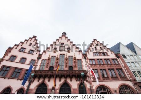 Old historic buildings in Frankfurt - Germany. - stock photo