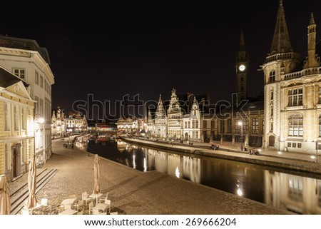 Old historic center of city of Ghent at Belgium in blue hour view from the Sint Michiels bridge - stock photo