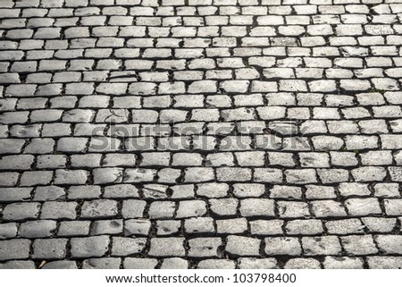 old historic cobble stone street with moss - stock photo