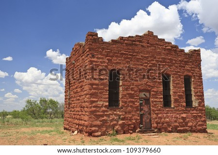 Old historic jailhouse in Texas, USA. - stock photo