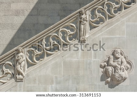 Old historic stone stairway and wall