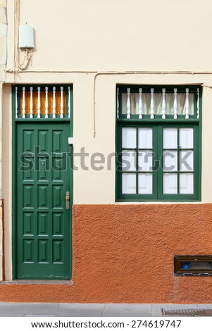 Old historic wooden door in Puerto de la Cruz, Tenerife, Canary Islands, Spain