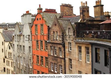 Old, historical architecture in Grass Market, Edinburgh, Scotland, UK - stock photo