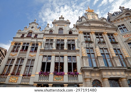 Old historical buildings including Maison Des Brasseurs and Anno in Grand Place of Brussels. - stock photo
