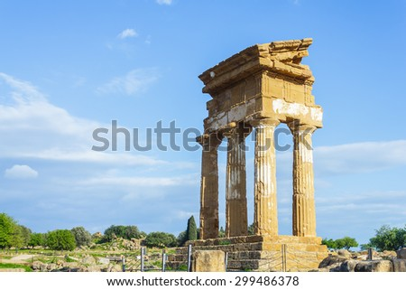 Old historical Greek temple at Valley of the Temples in Agrigento on Sicily, Italy - stock photo