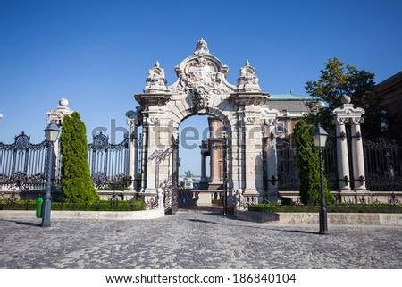 Old historical iron gate of Buda Castle in Budapest, Hungary - stock photo