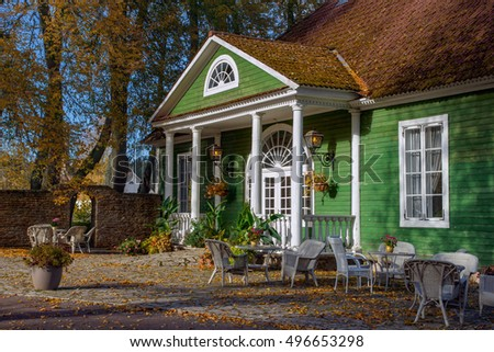 old, historical restaurant is located on grounds of Palmse manor. Stay in the fresh air. The fall season. National Park Lahemaa in Estonia.
