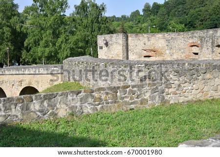 old historical wall, church and tower Bardejov Slovakia