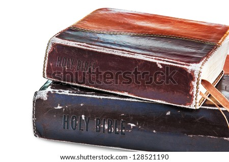 Old Holly Bibles. - stock photo