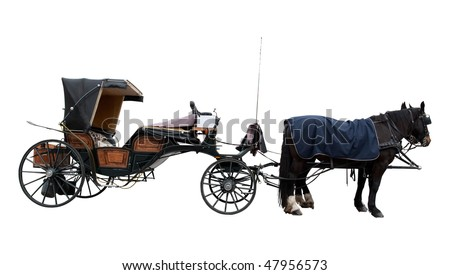 Old horse coach ready for drive - stock photo