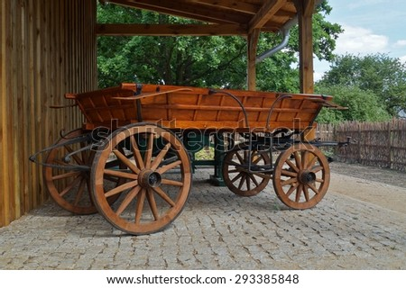 old horse-drawn carriage in retro style on the museum - stock photo