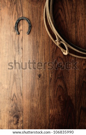 Old horseshoe and authentic American West rodeo cowboy lasso lariat hanging on an antique wood barn wall as a vintage Western background - stock photo