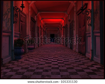 Old hotel hallway - stock photo