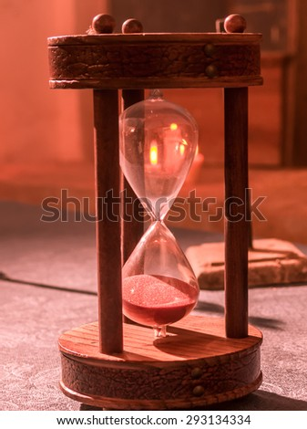 Old hourglass with candles background