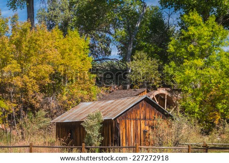 Old House and water wheel in Sedona Arizona  - stock photo