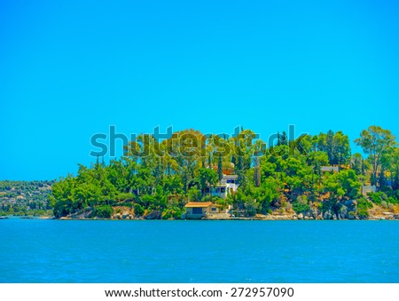 old house by the sea in Spetses island in Greece - stock photo