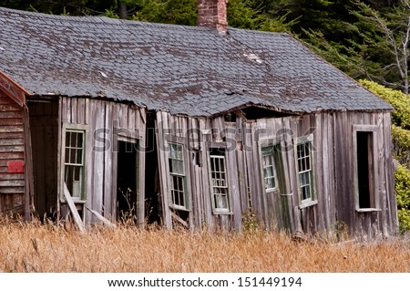 Old House Dilapidated and Crumbling  - stock photo