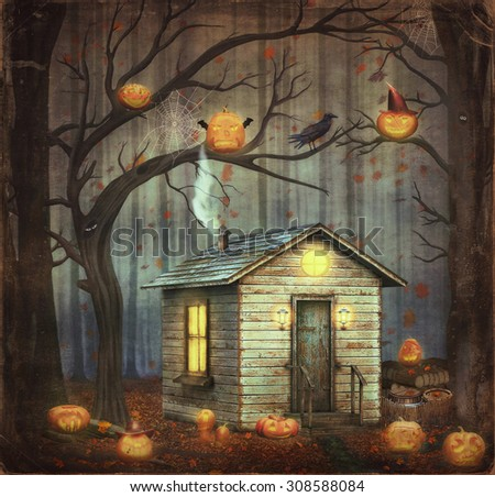 Old House  in a fairytale forest among trees and scary halloween pumpkins - stock photo