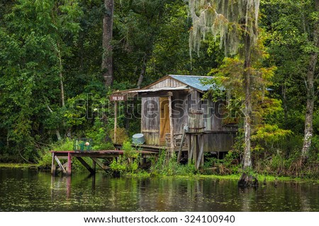 Old house in a swamp in New Orleans Louisiana USA - stock photo