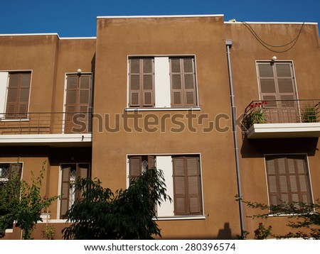 Old house In classical traditional Bauhaus style in the white city  Tel-Aviv Israel - stock photo