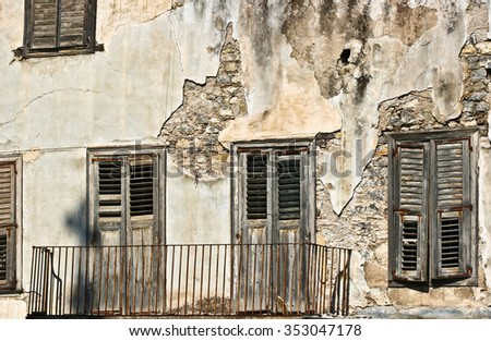 Old house in greece in the summer (Peloponese) - stock photo