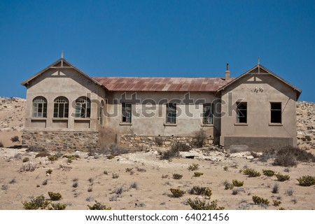 Old house in the ghost town of Kolmanskop, Namibia - stock photo