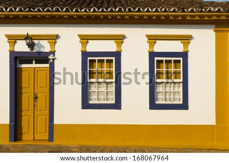 Old house in the historic city of Tiradentes, in Minas Gerais state, Brazil. - stock photo