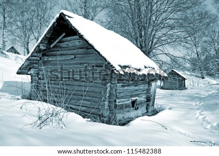 old house in wood - stock photo