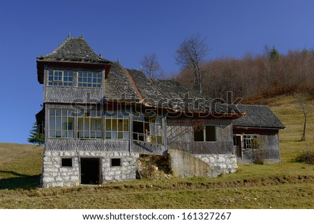 Old house located on the top of the Carpathian Mountains