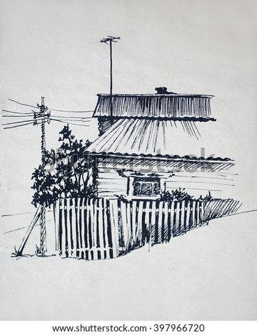 Old house sketch - stock photo