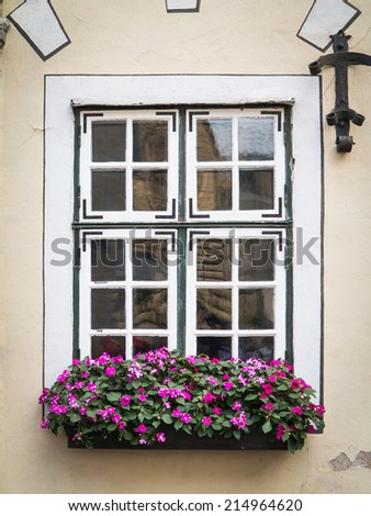 Old house window with flowers - stock photo