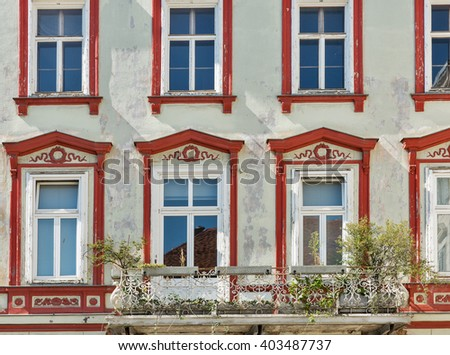Old house with beautiful windows in the Graz Old Town, Austria.