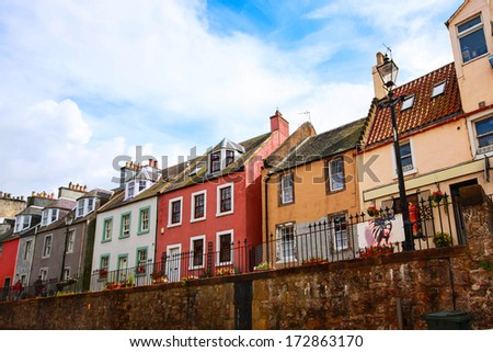 Old houses in Queensferry near Edinburgh, Scotland - stock photo