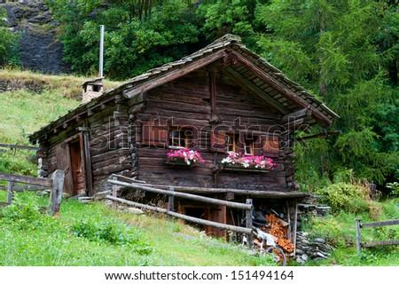 Old houses in Switzerland.La Sag.Valais - stock photo