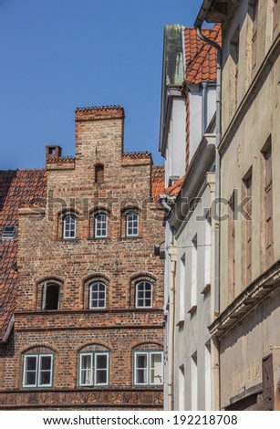 Old houses in the historic center of Lubeck, Germany - stock photo