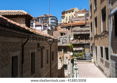 Old houses in the historic centre of Segovia, Spain - stock photo