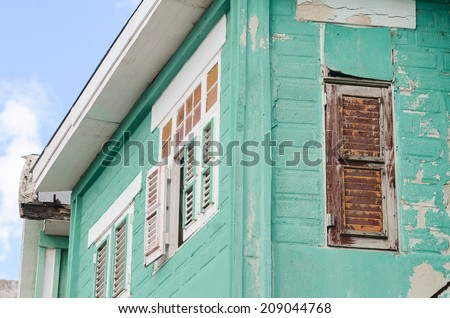 Old houses in the Otrobanda side of Willemstad, Curacao, Netherland Antilles - stock photo