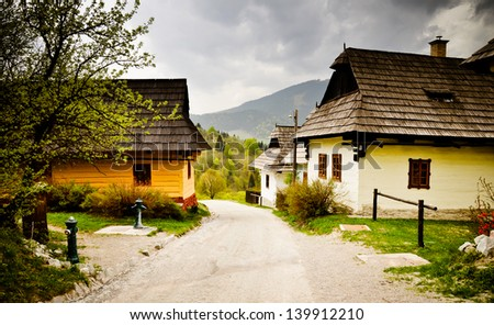 Old houses of traditional village in Slovakia, Europe. Vlkolinec - stock photo