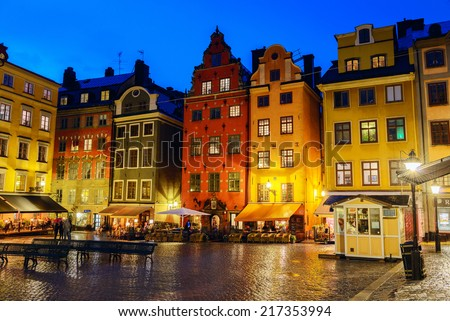 Old houses on Stortorget square at night. Stockholm, Sweden - stock photo