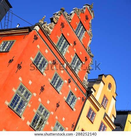 Old houses on Stortorget square in Gamla stan, Stockholm. Tilt composition - stock photo