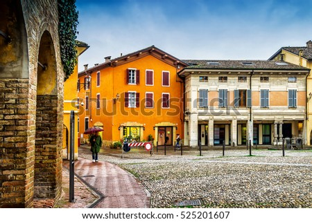 Old houses on the square in medieval city, Fontanellato, Emilia-Romagna, Italy.