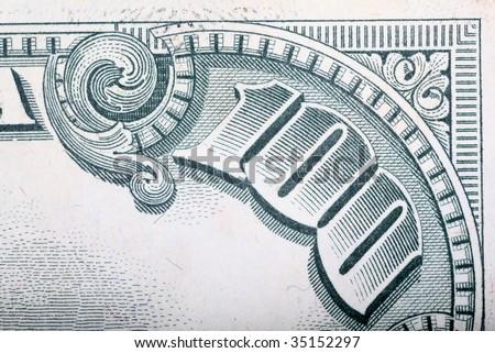Old hundred dollar bill corner macro shot - stock photo