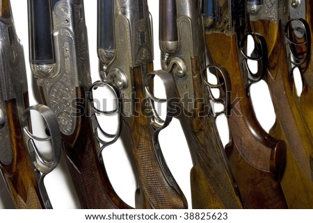 old hunting double-barreled guns - stock photo