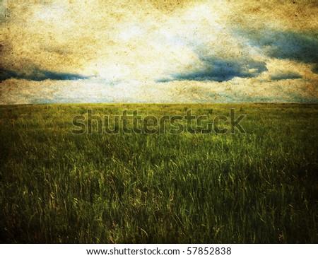 old illustration, fields - stock photo