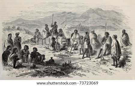 Old illustration of Abyssinian warriors in Antalo (nowadays Hintalo) surroundings.  Original, created by Loudon, was published L'Illustration, Journal Universel, Paris, 1868 - stock photo