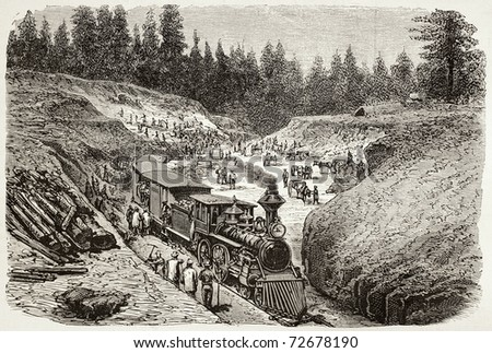 Old illustration of Dixie trench, California, along Union Pacific Railroad track. Original, created by Gaildrau, was published on L'Illustration, Journal Universel, Paris, 1868 - stock photo